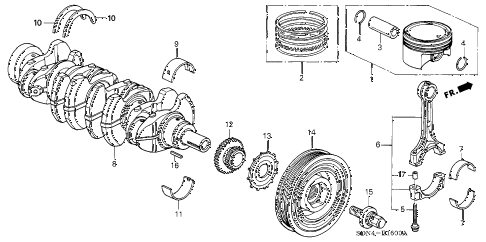 2004 accord EX(SIDE CURTAIN) 2 DOOR 5MT CRANKSHAFT - PISTON (L4) diagram