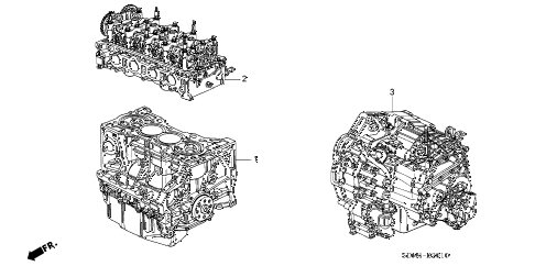 2003 accord EXL 2 DOOR 5MT ENGINE ASSY. - TRANSMISSION ASSY. (L4) diagram
