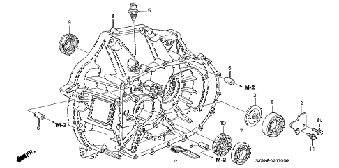 2005 accord SE 2 DOOR 5MT MT CLUTCH CASE (L4) diagram