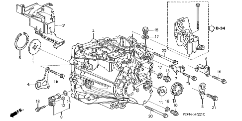 2004 accord EX 2 DOOR 5MT MT TRANSMISSION CASE (L4) diagram