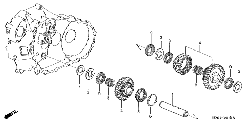 2004 accord EX(V6) 2 DOOR 6MT MT REVERSE GEAR SHAFT (V6) diagram
