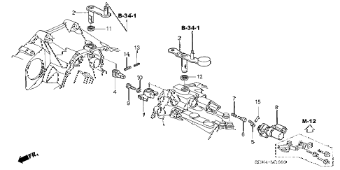 2004 accord EX(V6 NAVI) 2 DOOR 6MT MT SHIFT ARM (V6) diagram