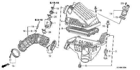 2007 accord EXL(NAVI) 2 DOOR 5MT AIR CLEANER (L4) diagram