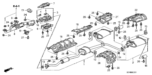 2007 accord EXV6(NAVI) 2 DOOR 6MT EXHAUST PIPE (V6) diagram