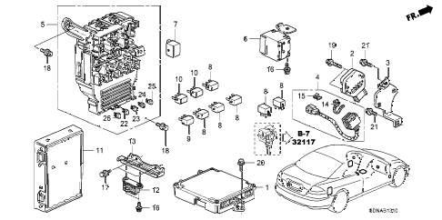 2007 accord LX 2 DOOR 5MT CONTROL UNIT (CABIN) diagram