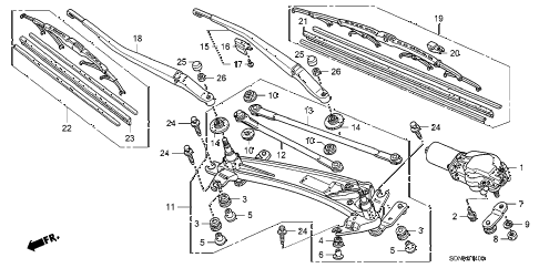 2007 accord EX 2 DOOR 5MT FRONT WINDSHIELD WIPER diagram