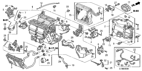 2007 accord EX 2 DOOR 5MT HEATER UNIT diagram