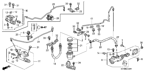 2007 accord EXV6 2 DOOR 6MT CLUTCH MASTER CYLINDER (1) diagram