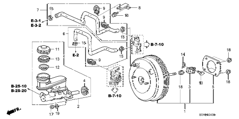 2007 accord LX 2 DOOR 5MT BRAKE MASTER CYLINDER  - MASTER POWER (1) diagram