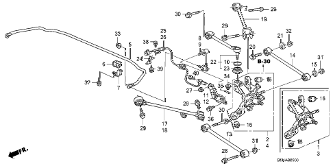 2007 accord EXL(NAVI) 2 DOOR 5MT REAR LOWER ARM diagram