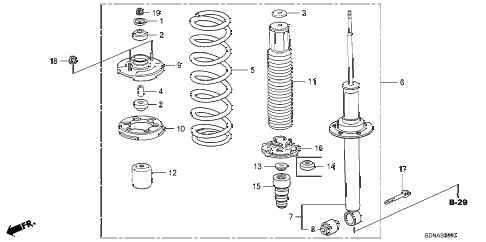 2007 accord EXV6 2 DOOR 6MT REAR SHOCK ABSORBER diagram