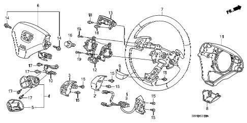 2007 accord EX 2 DOOR 5MT STEERING WHEEL (SRS) diagram