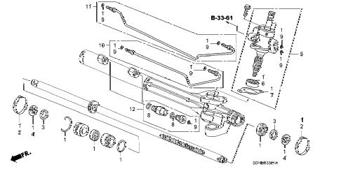 2007 accord EXV6(NAVI) 2 DOOR 6MT P.S. GEAR BOX COMPONENTS (V6) diagram