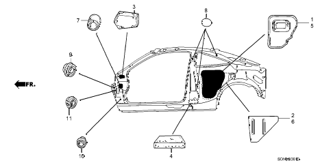 2007 accord EXV6(NAVI) 2 DOOR 6MT GROMMET (SIDE) diagram