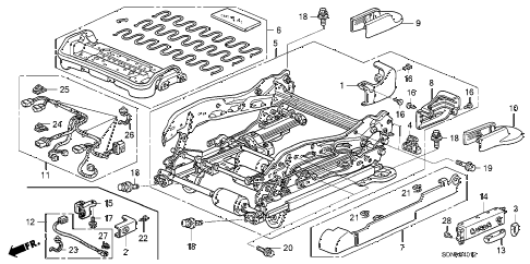 2007 accord EXV6 2 DOOR 6MT FRONT SEAT COMPONENTS (L.) (8WAY POWER SEAT) diagram