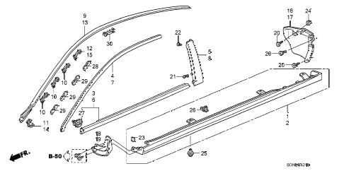 2007 accord LX 2 DOOR 5MT MOLDING - SIDE SILL GARNISH diagram