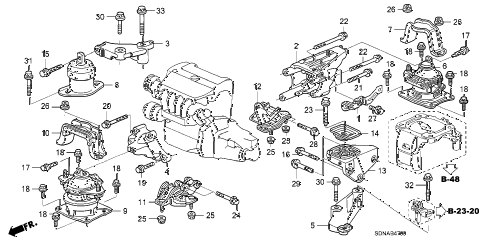 2007 accord LX 2 DOOR 5MT ENGINE MOUNTS (L4) (MT) diagram