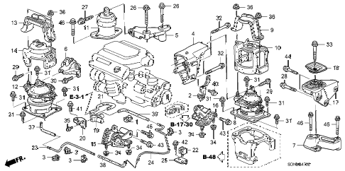 2007 accord EXV6 2 DOOR 6MT ENGINE MOUNTS (V6) (MT) diagram