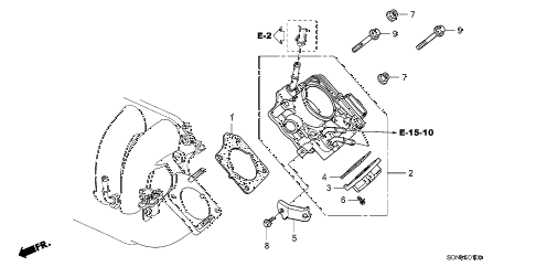 2007 accord LX 2 DOOR 5MT THROTTLE BODY (L4) diagram