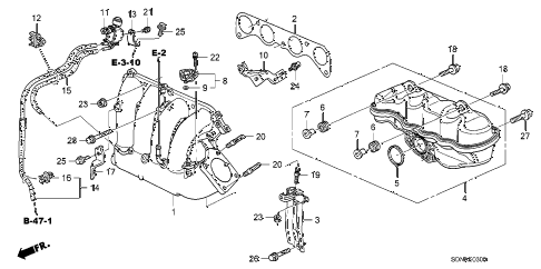 2007 accord LX 2 DOOR 5MT INTAKE MANIFOLD (L4) diagram
