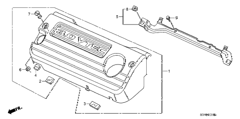 2007 accord EXV6 2 DOOR 6MT ENGINE COVER (V6) diagram