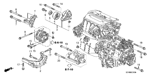 2007 accord EXL(NAVI) 2 DOOR 5MT ENGINE MOUNTING BRACKET (L4) diagram