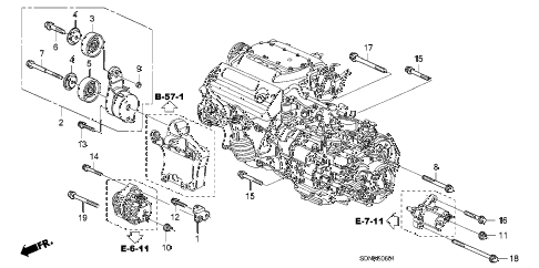 2007 accord EXV6(NAVI) 2 DOOR 6MT ALTERNATOR BRACKET (V6) diagram
