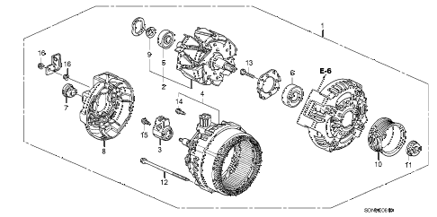 2007 accord LX 2 DOOR 5MT ALTERNATOR (DENSO) (L4) diagram