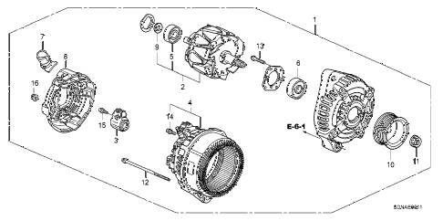 2007 accord EXV6 2 DOOR 6MT ALTERNATOR (DENSO) (V6) diagram