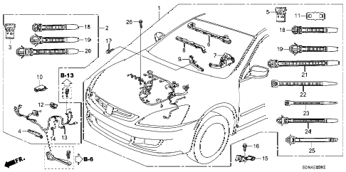 2007 accord LX 2 DOOR 5MT ENGINE WIRE HARNESS (L4) diagram