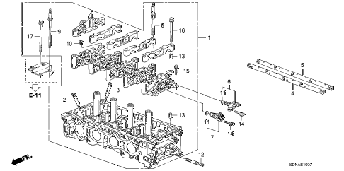 2007 accord LX 2 DOOR 5MT CYLINDER HEAD (L4) diagram