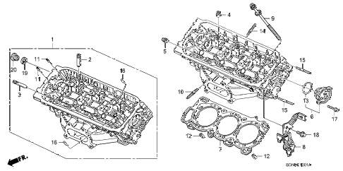 2007 accord EXV6(NAVI) 2 DOOR 6MT FRONT CYLINDER HEAD (V6) diagram