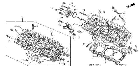 2007 accord EXV6(NAVI) 2 DOOR 6MT REAR CYLINDER HEAD (V6) diagram