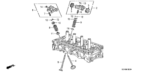 2007 accord EX 2 DOOR 5MT VALVE - ROCKER ARM (L4) diagram