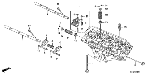 2007 accord EXV6 2 DOOR 6MT VALVE - ROCKER ARM (FR.) (V6) diagram