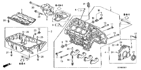 2007 accord EXV6(NAVI) 2 DOOR 6MT CYLINDER BLOCK - OIL PAN (V6) diagram