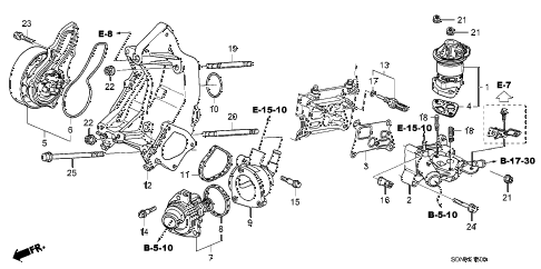 2007 accord EXL(NAVI) 2 DOOR 5MT WATER PUMP - SENSOR (L4) diagram