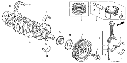 2007 accord EXL(NAVI) 2 DOOR 5MT CRANKSHAFT - PISTON (L4) diagram