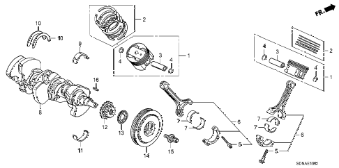 2007 accord EXV6 2 DOOR 6MT CRANKSHAFT - PISTON (V6) diagram