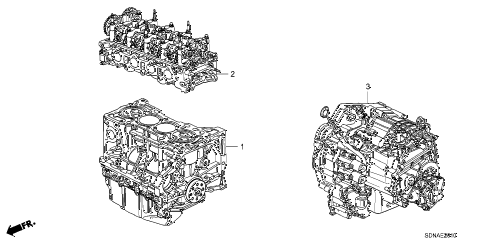 2007 accord EX 2 DOOR 5MT ENGINE ASSY. - TRANSMISSION ASSY. (L4) diagram