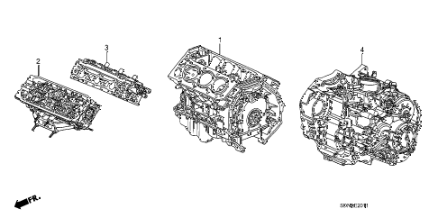 2007 accord EXV6 2 DOOR 6MT ENGINE ASSY. - TRANSMISSION ASSY. (V6) diagram