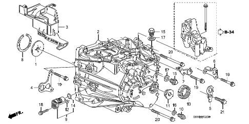 2007 accord EXL(NAVI) 2 DOOR 5MT MT TRANSMISSION CASE (L4) diagram