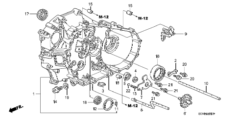 2007 accord EXV6 2 DOOR 6MT MT CLUTCH CASE (V6) diagram