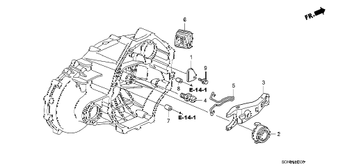 2007 accord EXV6(NAVI) 2 DOOR 6MT MT CLUTCH RELEASE (V6) diagram