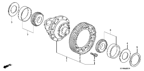2007 accord EXV6(NAVI) 2 DOOR 6MT MT DIFFERENTIAL (V6) diagram