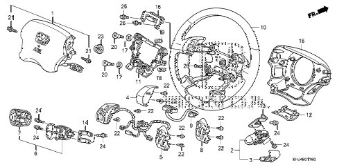 honda online store 2005 odyssey steering wheel srs parts rh estore honda com Steering Gear Parts Diagram honda civic steering wheel diagram