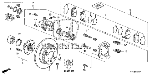2006 ridgeline RT 4 DOOR 5AT REAR BRAKE diagram