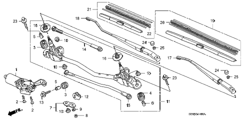 2007 fit SPORT 5 DOOR 5MT FRONT WINDSHIELD WIPER diagram