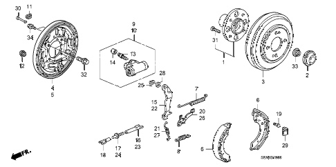 2008 fit BASE 5 DOOR 5MT REAR BRAKE diagram