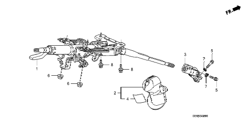 2007 fit SPORT 5 DOOR 5MT STEERING COLUMN diagram
